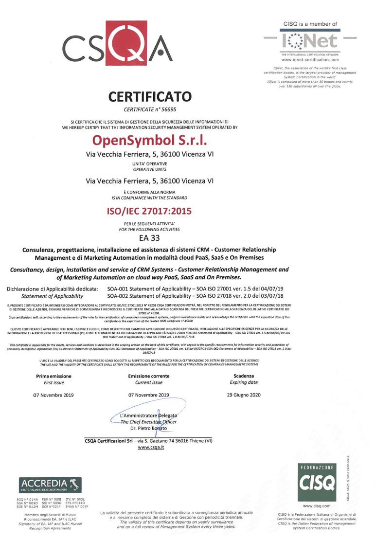 Miniatura certificazione ISO 27017