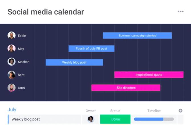Social media calendar monday.com