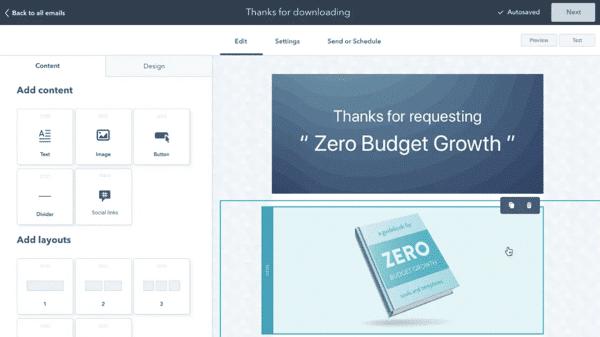 Dashboard email marketing Hubspot