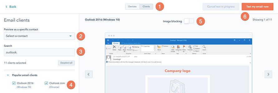 Email marketing client posta elettronica HubSpot dashboard